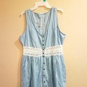 New blue chambray denim & lace button dress